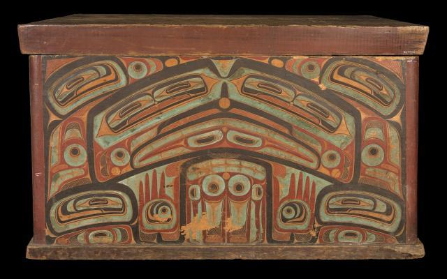 Storage box for clan treasures, Haida nation, Canada, c. 1860. Pitt Rivers Museum 1884.57.25.